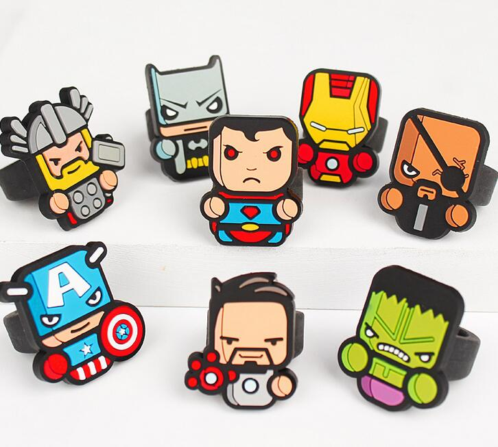 Wholesale Jewelry Lot 20pcs Lovely Cartoon Super hero Avengers Mix Girls kids Children Silicone Rings Party P-A-10