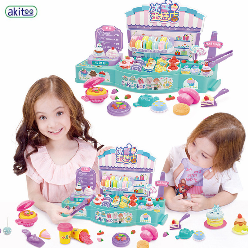 akitoo Children s DIY Kitchen cake shop play house toy Plasticine 3D color mud hand made