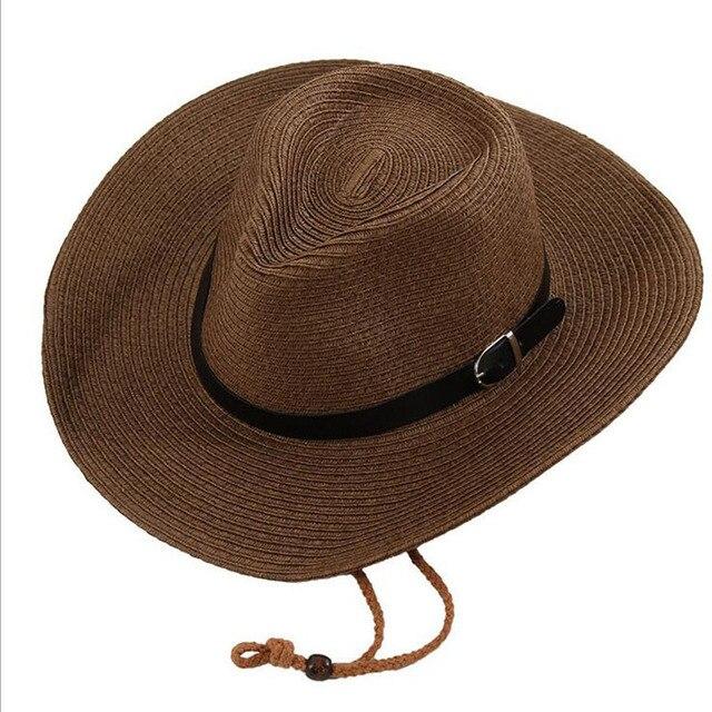 Hombres Y Mujer Verano Sombrero De Vaquero de Paja Plegable Sombrero de  Playa Gran Sombrero de 00ae18b0a2e