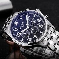 Man Watch Black Stainless Steel Strap Fashion Business Quartz Watch Men Sport Full Steel Waterproof Wrist