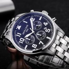 Mann uhr schwarz edelstahl armband Mode-Business Quarzuhr Männer Sport Voller Stahl Wasserdicht Armbanduhren für männer 2017