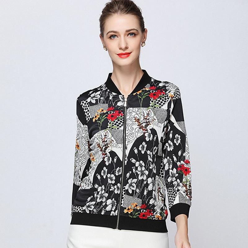 Bomber Casual Imprimé Veste 100 Style Court Femmes Manches Tissu Multi Soie Longues Mode Zipper Manteau 2018 Léger Nouvelle xqxv5zXw