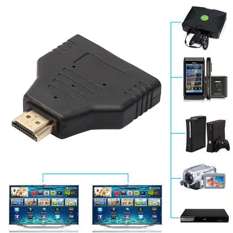 Nieuwe HDMI Splitter Kabel 1080P HDMI Port Man-vrouw 1 In 2 Out Splitter Kabel Adapter Converter Auto switch extender Adapter