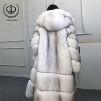 2018 New Winter Naturar Real Fur Coat Women Luxury Thick Warm Fox Fur Jacket With Hood 100CM Long Fashion Fox Fur Coat FC 192