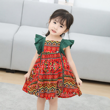 цена на New style Baby girl dress 2T-6T  girls clothes flying sleeve dress children clothes kid outfit cotton princess dress summer 2019