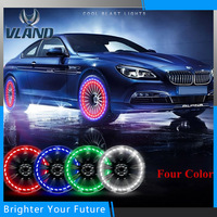 4Pcs LED Car Auto Solar Energy Flash Tire Rim Light Lamp Bright Bicycle Waterproof Spokes