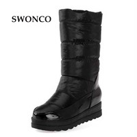 2017 Platform Winter Boots Women Mid High Ski Boots Warm Snow Boots Mid Leg Winter Shoes Size 35-40 Black White Red