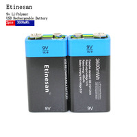Etinesan 2pcs Power USB Battery 6F22 9V Li ion Lithium 400mAh Chemistry Rechargeable Battery For Electronic Instruments