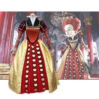 Custom Made 2016 American Fantasy Adventure Film Alice in Wonderland The Red Queen Cosplay Costume For Adult Kid Halloween