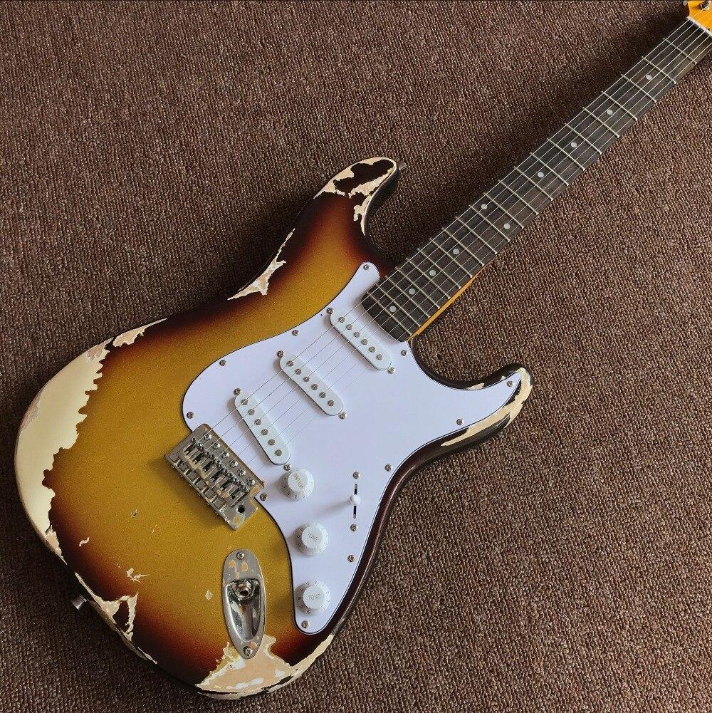 Custom shop. Guitare électrique à 6 cordes en palissandre, reliques gitaar Sunburst à la main guitarra
