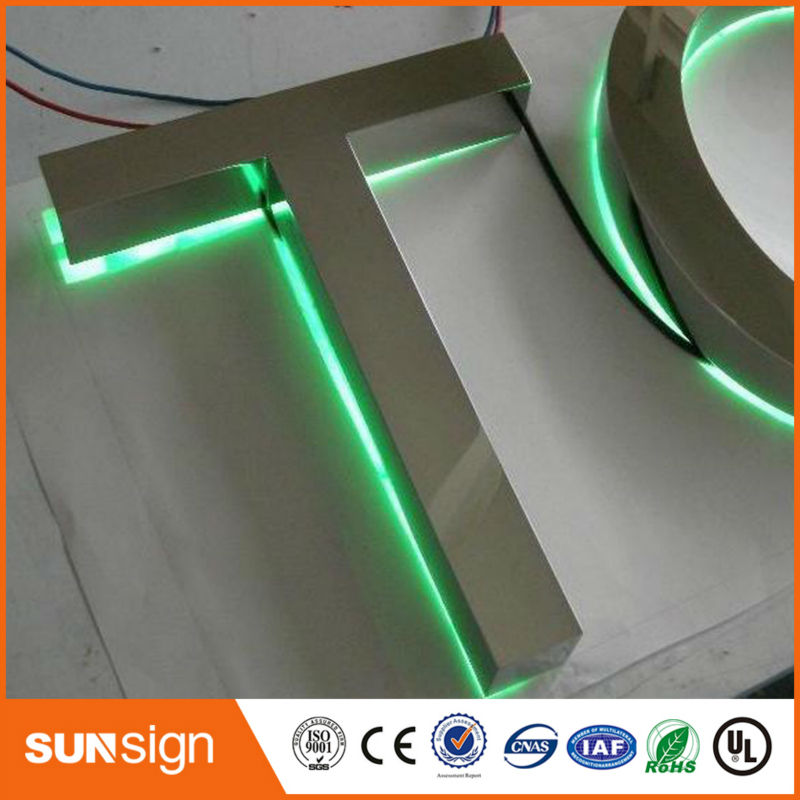 Outdoor Up Light Stainless Steel Letters Sign Backlit