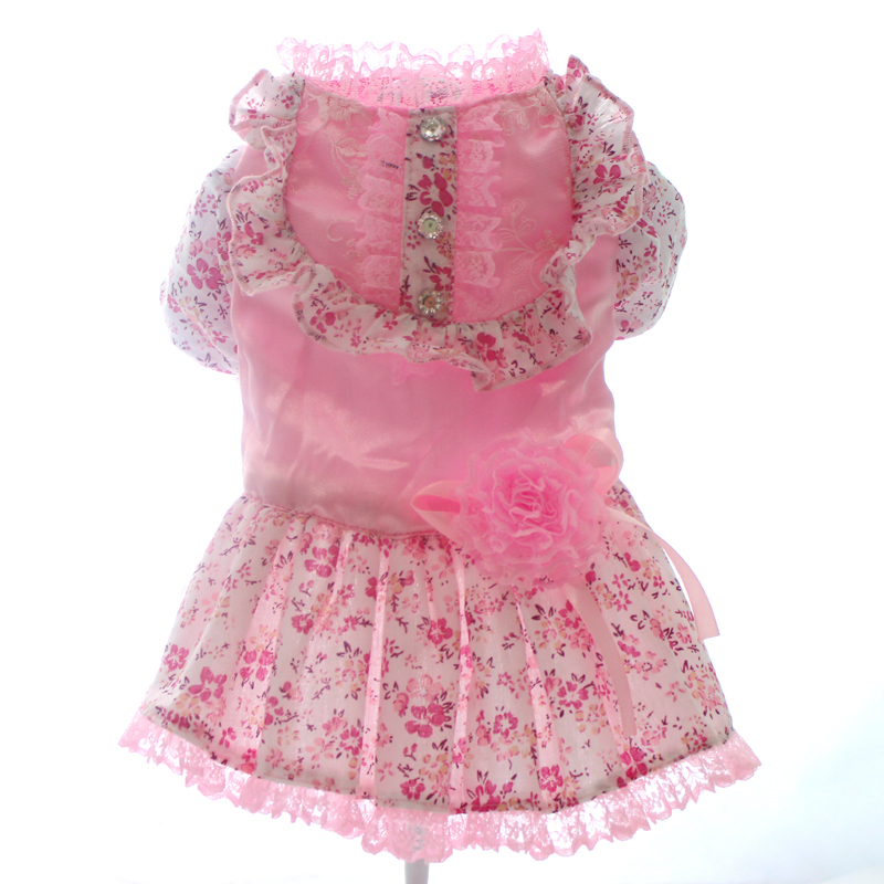 f20445fd885c Rosa Blu cane Giallo fiore Principessa abito da sposa gonna animale  domestico vestiti abbigliamento