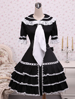 Cotton Black Ruffles Gothic Lolita Dress