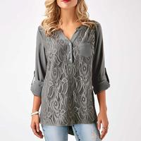 Women Chiffon Lace Blouse 2018 New Summer Autumn Long Sleeve V Neck Embroidered Shirt Blusas Plus