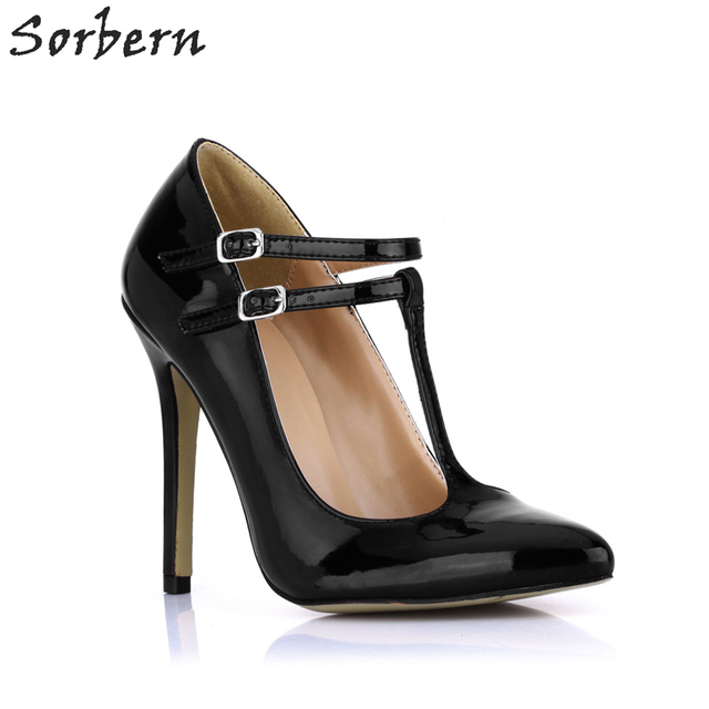 Sorbern Black Shiny Pu Women Pumps High Heels T-Strap Straps Pointed Toe Black Shoes For Women 12Cm High Heels Stilettos 2018
