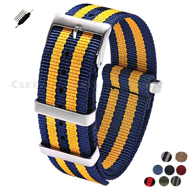 b4f792576 New 20 22mm Men Women Nylon High Quality Stainless Steel Buckle Watchband  for Brand Watch Sport Army Watch Nato Zulu Strap Blue