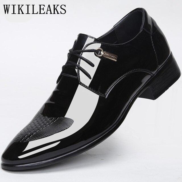 diseñador de marca de lujo zapatos de boda hombre de charol negro