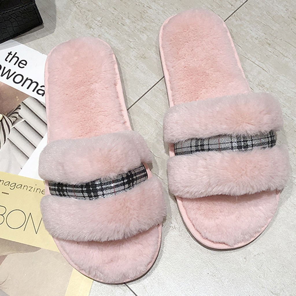 Women's warm plaid solid color plush soft slippers indoor floor bed cotton shoes one-word open toe slippers new listing