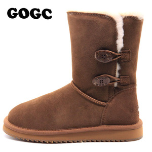 Image 2 - GOGC Womens Winter Shoes Snow Boots Womens Winter Boots with Wool Fur Comfortable Genuine Leather Womens Winter Boots 9720