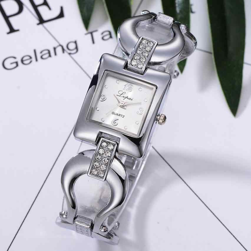 Momento N03 superior de las mujeres de la marca de reloj de pulsera de diamantes de cristal de acero inoxidable de los hombres relojes de cuarzo vestido de mujer reloj de pulsera libre
