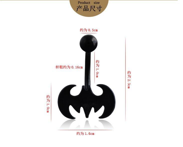 HTB1jJslKVXXXXadXVXXq6xXFXXXI Trendy 3-Styles Black Bat Belly Button Ring For Women