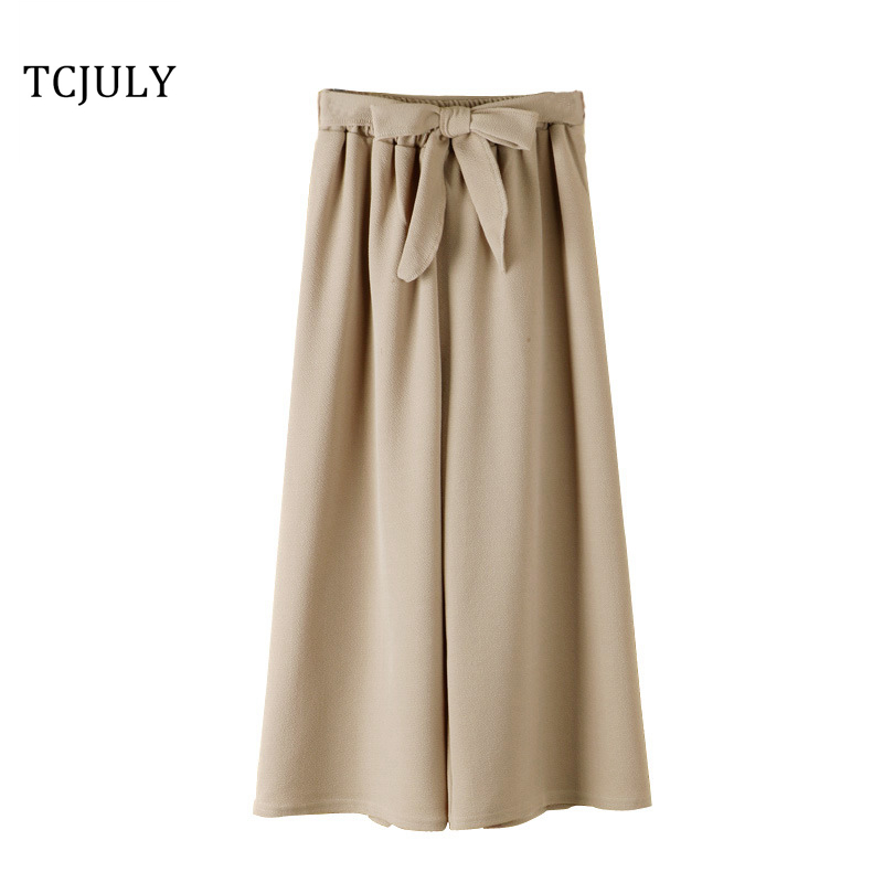 TCJULY Wholesale Fashionable Solid Chiffon Women Wide Leg Pants Bow Decorate Loose Casual Trousers Breathable Ankle Length Pants