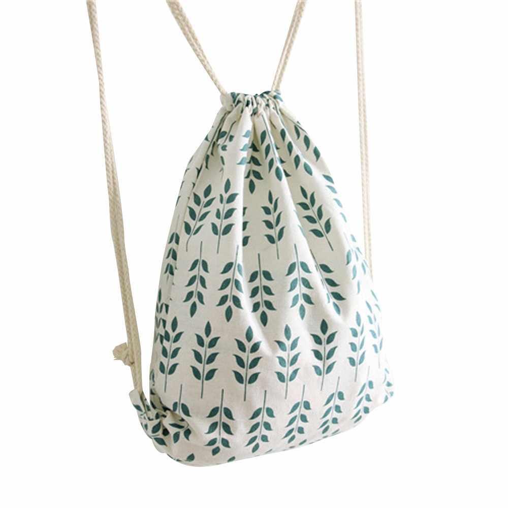 Tasje Katoenen canvas gift bag sac a dos ficelle Vrouwen Tarwe Oor Trekkoord Beam-poort Rugzak Boodschappentas Reizen tas