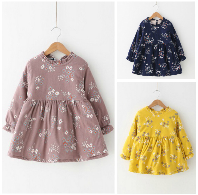 kids girls winter dresses baby o-neck long sleeve floral printed yellow dark blue pink dress children casual clothes toddler dark blue round neck plaid womens long sleeve dress