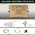 2G 3G 4G dual band 1800/2100 MHz telefone repetidor de sinal com log-periódica e amplificador de antena antena de teto grande cobertura