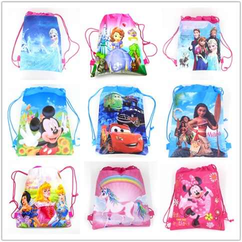 1Pcs Disney Cars Six Princess Sofia Frozen Moana T Winnie Mickey Mouse Non-woven Fabrics Shopping Bag Drawstring Backpack