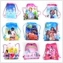 d97d58e8ec4 1 Pcs Disney Cars Zes Prinses Sofia Bevroren Moana T Winnie Mickey Mouse  Niet-geweven Boodschappentas Trekkoord rugzak
