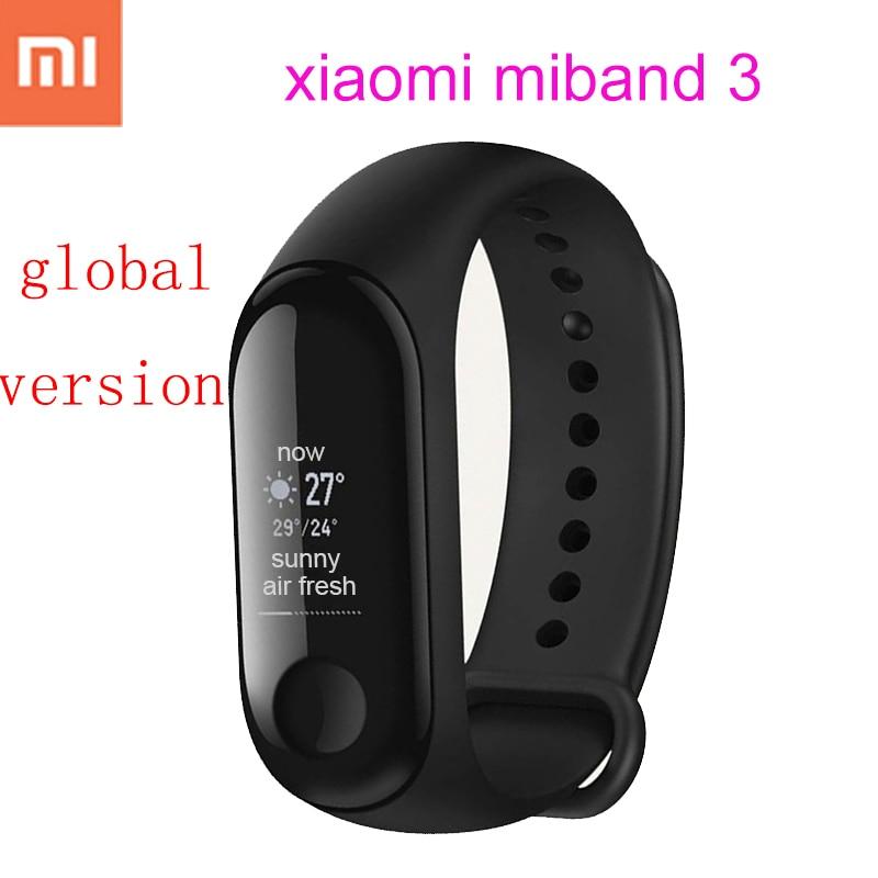 Originale xiaomi mi banda 3 mi fascia 2 globale versione di smart wristband del braccialetto monitor di frequenza cardiaca fitness tracker xiao mi smartband