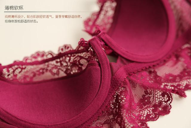 Free Shipping Women's Sexy Bra Set Ultra-thin Lace Bra Brief Sets Brassiere Push up Bra and Panties