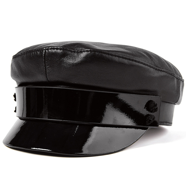 4ee2b19f53b9ea LA SPEZIA Women Leather Sailor Cap Black Cotton Military Hats Female Autumn Fashion  Hat Army Lady
