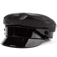 LA SPEZIA Women Leather Sailor Cap Black Cotton Military Hats Female Autumn Fashion Hat Army Lady Luxury Designer Baker Boy Caps