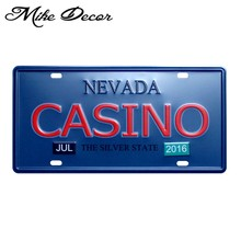 [Mike86] Nevada Casino Lukisan Dinding Rumah Bar Pub Logam Plak Tin Sign Decor Craft hadiah D-603 Mix order 30*15 CM(China)