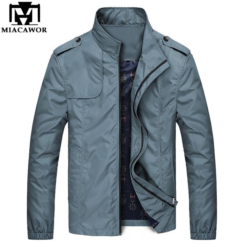 MIACAWOR Spring Autumn Men Jacket Stand Collar Jaqueta Masculino Casual Men Coats Fashion Windbreaker Plus Size 4XL J587