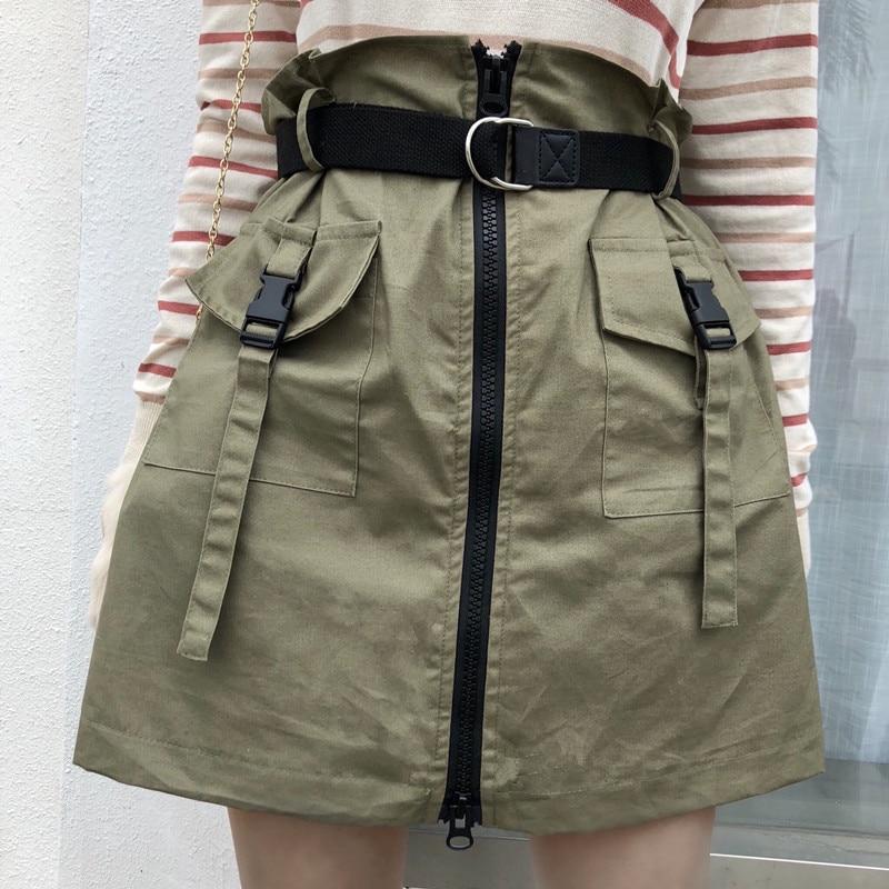 Casual Women's Skirts Japanese Harajuku Ulzzang Vintage High Waist Zip Skirt Female Korean Kawaii Cute Clothing For Women