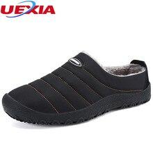 UEXIA Winter Unisex Plush Men Slippers Fleece Warm Fur Thicken Anti Slip Cotton-padded Shoes Fashion Man Slippers Big Size 36-46