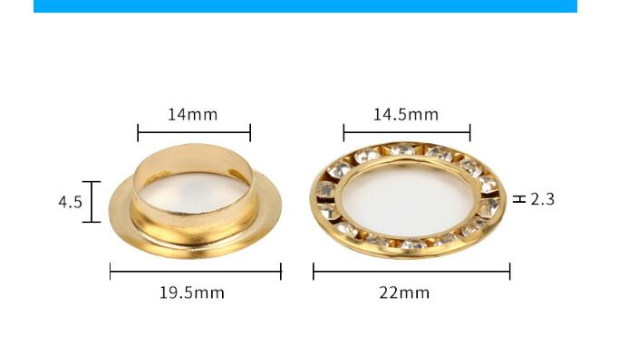 Golden Rhinestone Grommet 6 mm Eyelet Tape PU Leather Fastening Tape DIY Craft