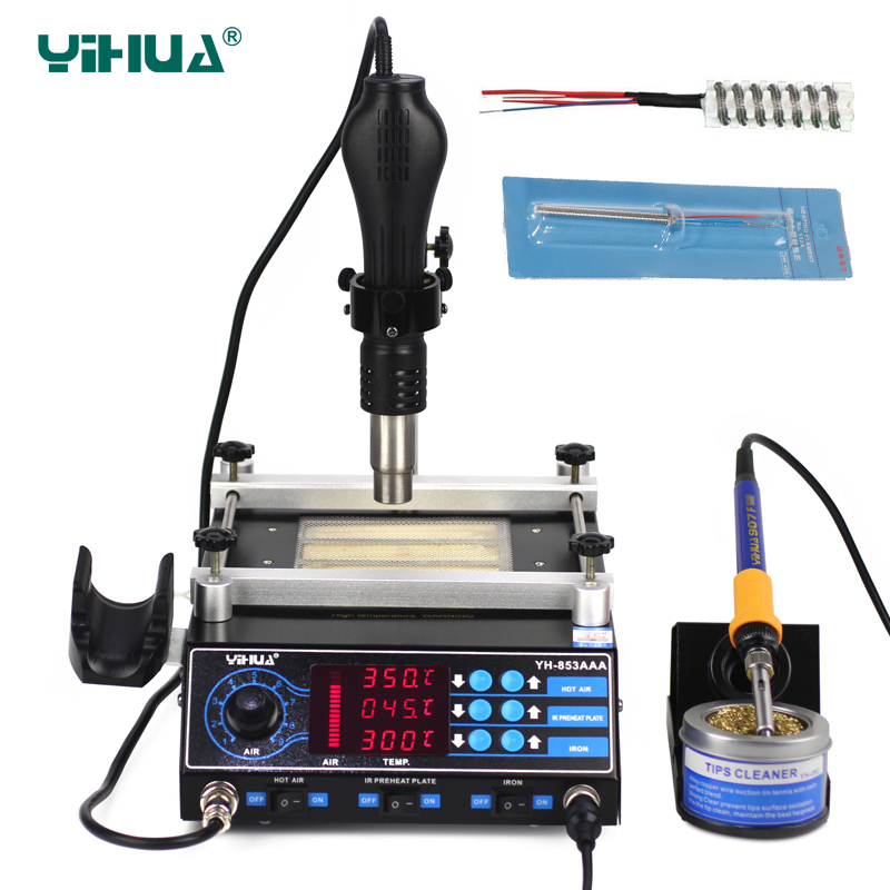 цена на YIHUA 853AAA BGA Rework Station SMD Hot Air Gun Soldering Irons Preheating Station 3 in 1 rework soldering stations repair tools
