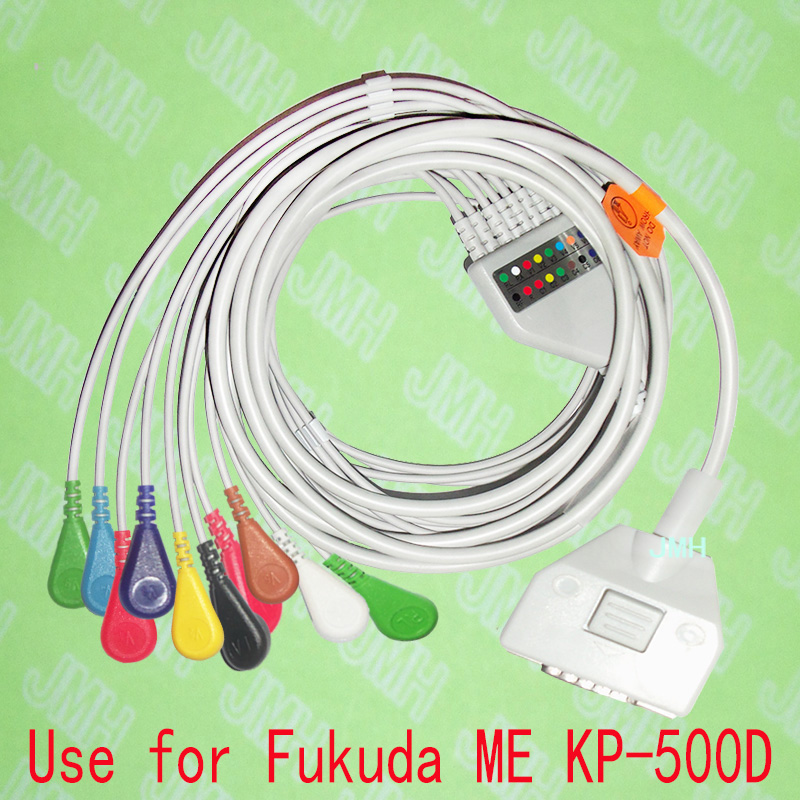 Compatible with 15 PIN Fukuda ME KP-500D EKG monitor Machine,One-piece 10 LEADS ECG cable and Snap leadwires,IEC or AHA. fukuda denshi ekg cable ecg cable 10 leads banana 4 0 plug 15 pins