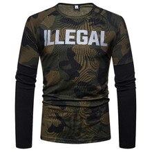 T-Shirt Men 2019 Autumn Long Sleeve O-Neck T Shirt Men Brand Clothing Fashion Camouflage Cotton Tees Tops TS90 stranger things stylish camouflage round neck long sleeve t shirt for men