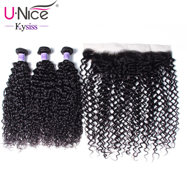UNice Hair 8A Kysiss Series Brazilian Virgin Curly Hair Weave Bundles With Pre Plucked Lace Frontal 4 PCS Hair Weave Free Part
