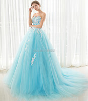 Ruffles Princess Light Blue Quinceanera Dresses Beaded Prom Gowns Dresses 15 Years Court Train Vestidos Para Quinceaneras 2016