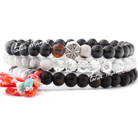 Lotus mann howlite ebenholz mixed 3 armband single