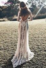 בציר תחרה ללא משענת Boho חוף חתונת שמלות ארוך שרוול עירום רירית המדינה בוהמי חתונת שמלות היפי צועני כלה שמלה