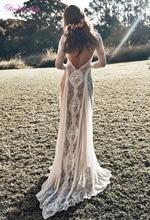 Vintage Lace Backless Boho Beach Abiti Da Sposa A Maniche Lunghe Fodera Nudo Paese Bohemian Abiti Da Sposa Hippie Gypsy Vestito Da Sposa