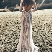 Vintage Lace Backless Boho Beach Wedding Dresses Long Sleeve Nude Lining Country Bohemian Wedding Gowns Hippie