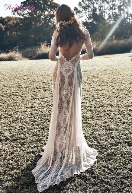 Vintage Spitze Backless Boho Strand Hochzeit Kleider Langarm Nude Futter Land Bohemian Wedding Kleider Hippie Gypsy Braut Kleid